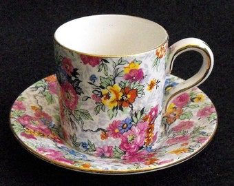 Old Lord Nelson England Marina Demitasse Cup and Saucer Set Chintz Floral