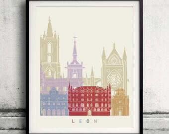 Leon skyline poster - Fine Art Print Landmarks skyline Poster Gift Illustration Artistic Colorful Landmarks - SKU 2328