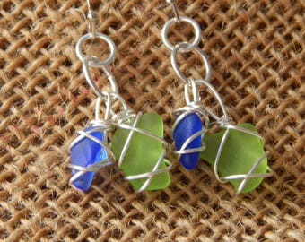 Blue and Green Sea Glass Earrings