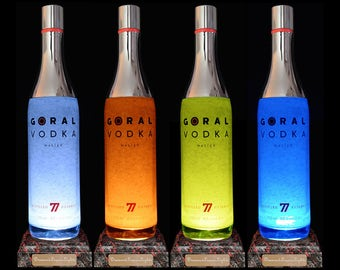 Goral Vodka Multicolour LED Bottle Lamp. Gifts For Men, Vodka Gifts, LED Bottle, Modern Lighting, Bar Lighting. DiamondLiquorLights