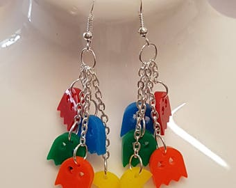 Pacman and 4 Ghosts Retro Earrings - Acrylic