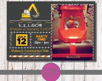 Construction Site Invitation - YOU PRINT custom Construction Site party invite