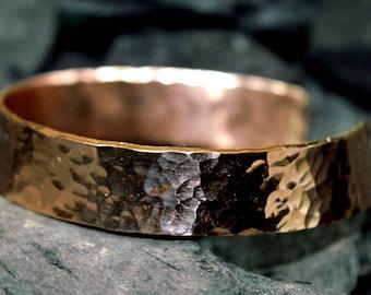 gold bracelet 9K , rose gold bracelet,handmade,unique, custom bracelet, contemporary,Hammered, solid gold cuff bracelet, 9K jewelry,,925