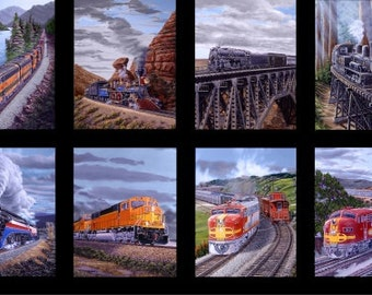 Train Fabric Panel / Redwood Express Train Panel Designed by Marc Desobeau for Blank Quilting 23x 44