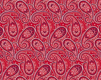 Paisley Fabric Red / Monroe 25862 -R Quiltig Treasures /  Red Paisley Fabric / Fat Quarters and By The Yard