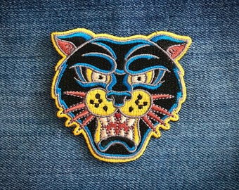 The Panther Patch// Iron On Patch // Embroidered patch // Applique // Party favors