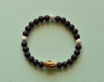 Gold Buddha Onyx Bracelet