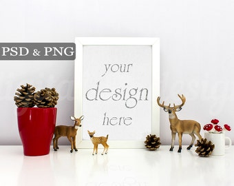 Christmas Deer Family Cone Styled Stock Photography Vertical Frame Mockup Digital Product Background Photo Download Empty Frame