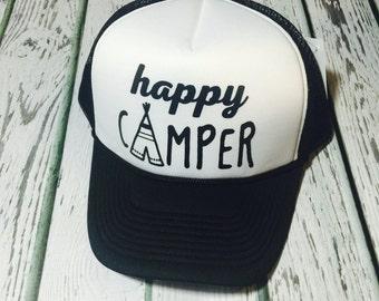Happy camper, happy camper hat, happy canper trucker hat, happy, happinesss, happy fashion, happy camper fashion, happy camper cute