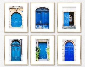 4x6 Decor Art Prints, Set of 6, Affordable Decor, Apartment Art, Paris and Prague Blue Doors, Gallery Wall Prints