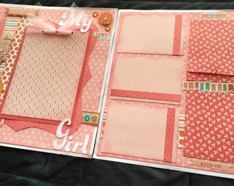 12x12 My Girl Scrapbook Page, Girl-Themed Premade Scrapbook Page, Girls Scrapbook Page, 12X12 Scrapbook Layout, Scrapbook Premade Page