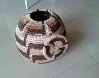 Basket weaving, Botswana traditional baskets,made of reed from the Chobe river and mokola palm.It can be used for storage or just decorating