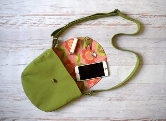 Green and Pink Crossbody Bag, Organic Floral Cotton Lined Purse with Turn Lock Close. Handmade Cross body w/ Adjustable Strap & Pocket