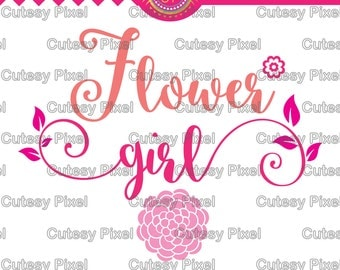 Flower girl svg, cutting file, flower svg, girl dxf, DXF, Cricut Design Space, Silhouette Studio, Cut Files, sayings, sayings svg