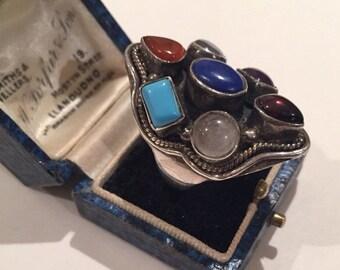 Vintage Silver Multi stone Ring, stunning ring