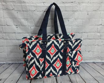 Navy Ikat Utility tote
