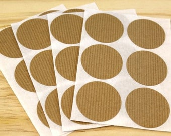Self-adhesive labels, Kraft, stickers, round, Brown kraft paper