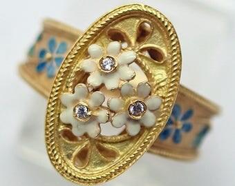 Vintage Ring 18k Gold Enamel Diamonds Flowers Romance French 1940 - 1980 (#6207)