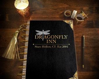 Dragonfly Inn BLACK leather Gilmore Girls Planner Cover for Erin Condren Life Planner, Plum Paper Planner, or Happy Planner