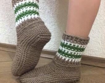 Sale! Women's wool Slipper Boots, Handknit Wool Socks, Gift Idea