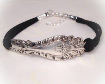 Spoon Bracelet Silverware Bracelet Leather Bracelet Handmade Spoon Silverware Jewelry Rustic Bracelet Gift