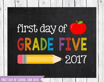 First day of Grade Five, Back to school printable, First day of school sign, School Sign, First day of Grade 5, Grade five chalkboard sign