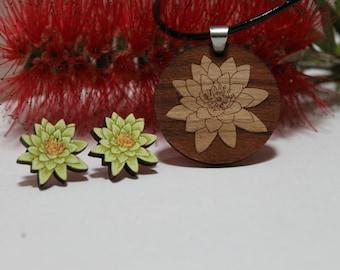 Lotus Necklace and Lotus Stud Earrings Set, Botanical Jewelry, Lotus Flower, Handpainted Flower Studs, Laser Cut Wood, Lily Accessories