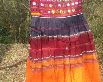 Vintage hand embroidered mirror work banjara tribal dancing gypsy skirt
