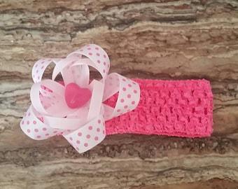 Pink Polka-dot crochet headband