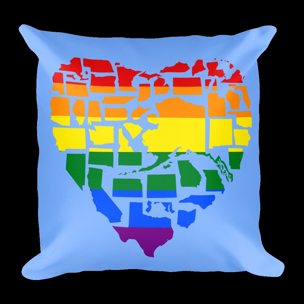 Gay Pride Throw Pillow - Love Not Hate Gay Pride Throw Pillow