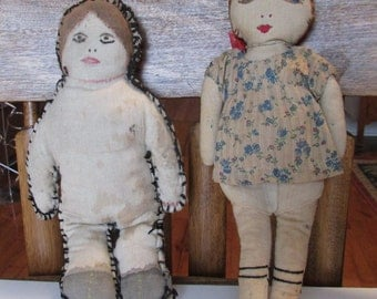 2 Vintage Primitive Cloth Dolls Antique Folk Art Cloth Dolls