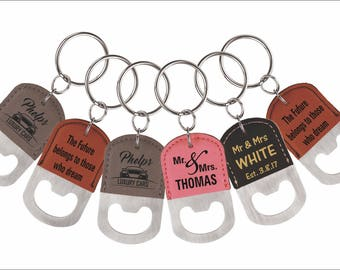 6 ( SIX ) Personalized Wedding Favors, Custom Bottle Opener Key chains for Family and Friends, 6-Set Key rings for any occassion, Entourage.