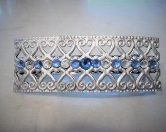 Antique style silver and saphire blue crystal hair clip clamp barrettes bridal barrette clip