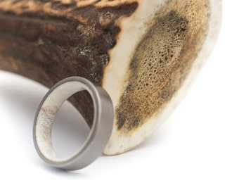 Titanium Ring With Deer Antler Inside. Wedding And Engagement Ring. For Men And Women. Custom Made.