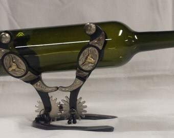 Western spur wine bottle holder, rack