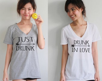 Set Of 10 Just Drunk Arrow Ever Bridesmaid Shirts  Women's Deep V Neck t-shirt