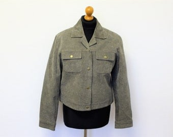Gray Suede Blazer Suede Bomber Jacket Women Cropped Genuine Leather Military Jacket Single Breasted Classic  Small to Medium Size
