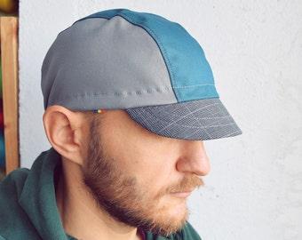 Cotton cycling cap, Teal, grey and tartan check, Grey and green cycling cap, Cycle hat, Bike messenger cap