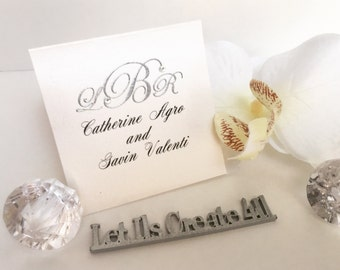 Wedding Place Cards- Embossing Monogram Place Cards