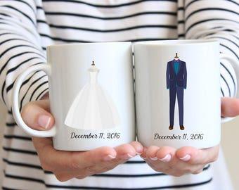 His and Hers Mug Set, Engagement Date Mugs, Mr. and Mrs. Mugs, Wedding Mugs, Bride and Groom Mugs, Couples Gift Set, Coffee Mug Set