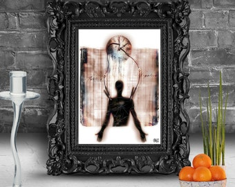 Portrait of a human body connected to a clock.   Surreal fine art print   FRAMED