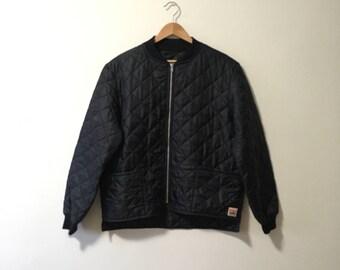 Vtg quilted work king black zip up chore jacket