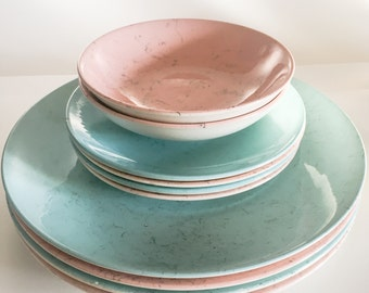 SET OF 10: Blue Ridge China Spiderweb Plates and bowls in pink and blue