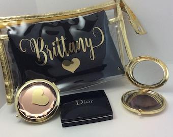 Bridesmaid make up bags-bride bag-cosmetic bag-make up bag-personalized make up bag-bridesmaid gift-wedding gift-bridalparty gift-gold bags