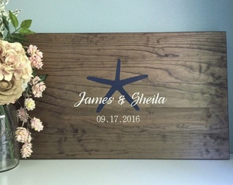 Rustic Wedding Guest Book Alternative /Starfish Beach Wedding / Painted Wedding Decor Wedding Guest Wood Guest Book Destination Wedding