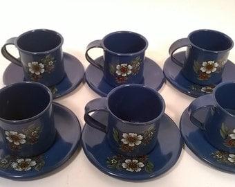 Vintage Miniature Enamel Cups and Saucers Set