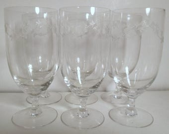 Vintage Floral Etched Fostoria Tall Wine Glasses