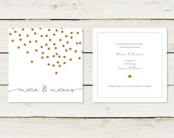 Wedding invitation | Gold printing. Confetti