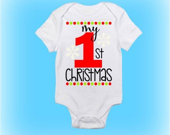 First Christmas Onesie - Gift for New Baby - Christmas Gift - Christmas Onesie - Baby Onesie - Baby Boy - Baby Girl -Baby Clothing-Christmas
