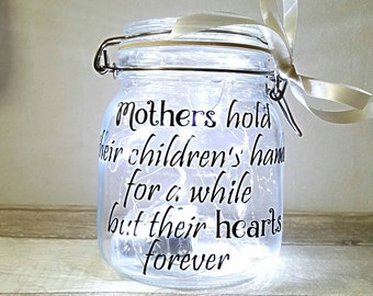 Mother jar, light jar, fairy lights jar,  mother quote,  mothers day gift,  present for mum,  daughter gift,  unique gift, mothers verse
